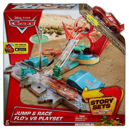 Conjunto Carros Disney Pista Rampa de Salto Flo's V8 - Acompanha um Carrinho do Mcqueen - Mattel