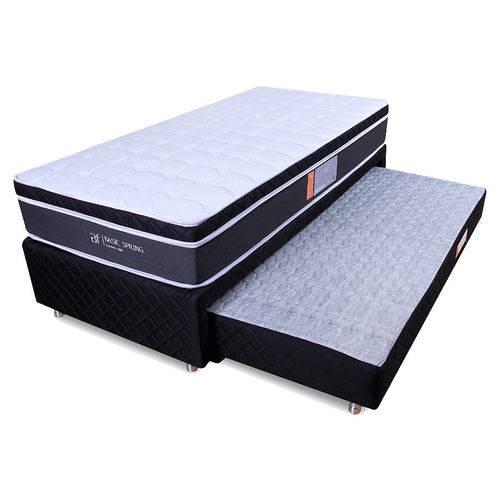 Conjunto Colchão Solteiro Mola Pillow + Box Colchão Auxiliar Bicama Espuma Bf Colchões 88x188cm