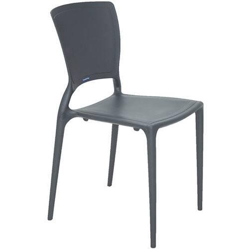 Conjunto com 4 Cadeiras Plastica Tramontina Monobloco Sofia Grafite 92236007