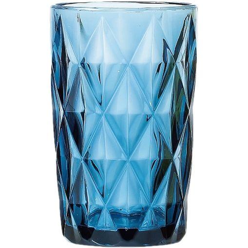 Conjunto com 6 Copos Altos em Vidro Diamond Azul 6500 Lyor