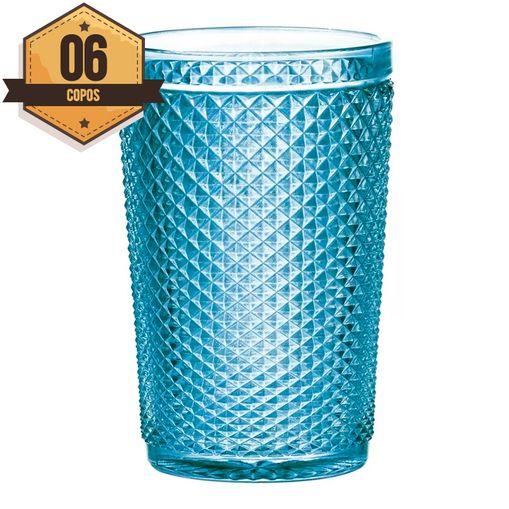 Conjunto com 6 Copos de Vidro Azul 355ml Raoni Bon Gourmet