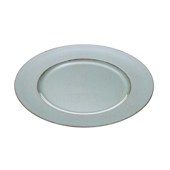 Conjunto com 6 Sousplat de Plástico Verde Patinado 33 Cm