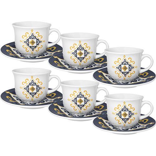 Conjunto com 6 Xícaras de Chá 200ml com Píres Floreal São Luis - Oxford Daily
