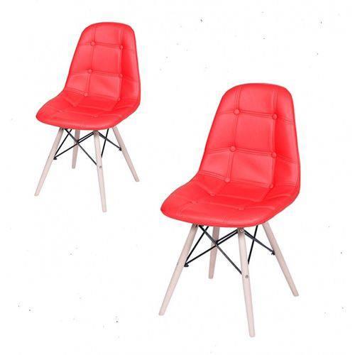 Conjunto com 2 Cadeira Dkr Botonê Base Eiffel Madeira Vermelha Inovakasa