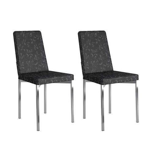 Conjunto com 2 Cadeiras Ariel Fantasia Preto