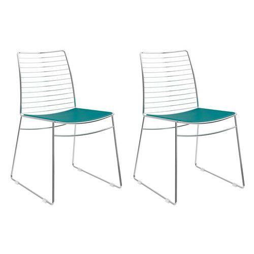 Conjunto com 2 Cadeiras Dance Courino Turquesa