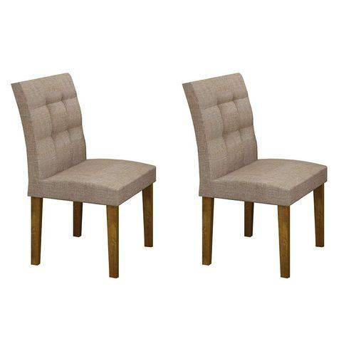 Conjunto com 2 Cadeiras Itália Linho Canela e Bege