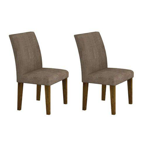 Conjunto com 2 Cadeiras Olímpia Suede Canela e Capuccino
