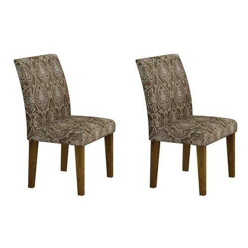 Conjunto com 2 Cadeiras Pampulha Linho Canela e Marrom
