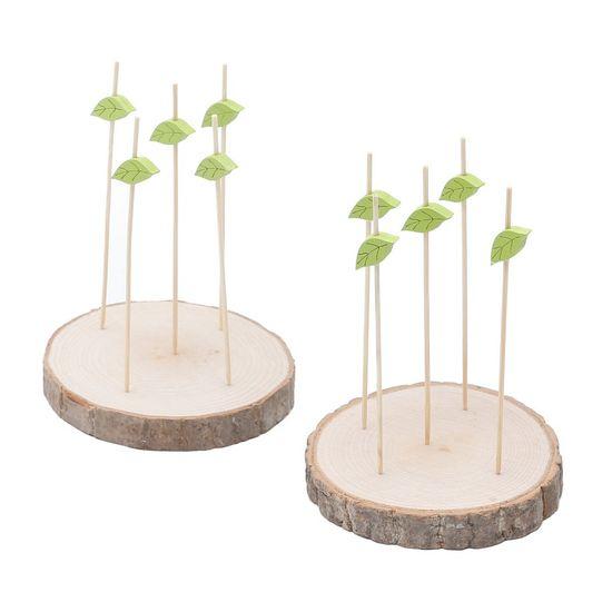 Conjunto com 2 Tábuas de Madeira e 15 Espetos de Bambu para Tapa 15,2 Cm