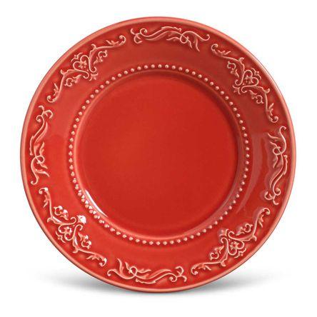 Conjunto de 06 Pratos de Sobremesa Acanthus Vermelho