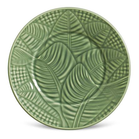 Conjunto de 06 Pratos de Sobremesa Leaves Verde Sálvia