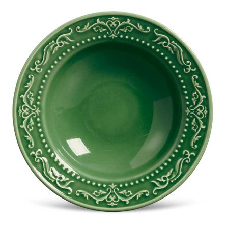 Conjunto de 06 Pratos Fundos Acanthus Verde Sálvia