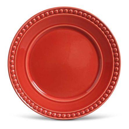 Conjunto de 06 Pratos Rasos Atenas Vermelho