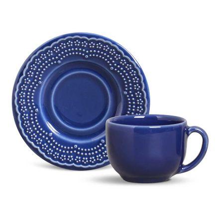 Conjunto de 06 Xícaras Chá Madeleine Azul Navy