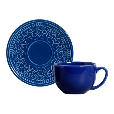 Conjunto de 06 Xícaras de Chá Agra Azul Navy Conjunto de 06 Xícaras de Chá Agra Az Navy