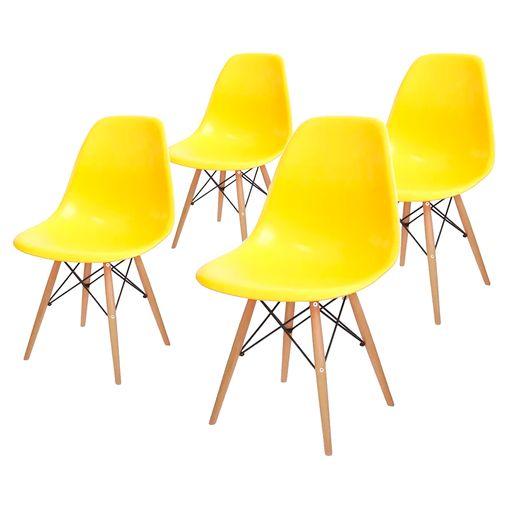 Conjunto de 4 Cadeiras de Jantar Eames Wood Amarela ÓR