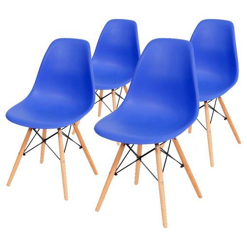 Conjunto de 4 Cadeiras de Jantar Eames Wood Azul Escura ÓR