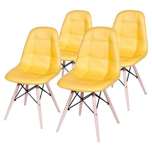 Conjunto de 4 Cadeiras de Jantar Eames Wood Botonê Amarela ÓR