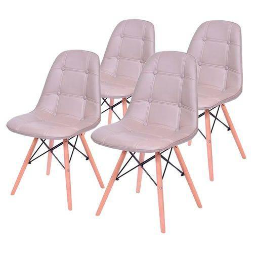 Conjunto de 4 Cadeiras de Jantar Eames Wood Botonê Fendi ÓR
