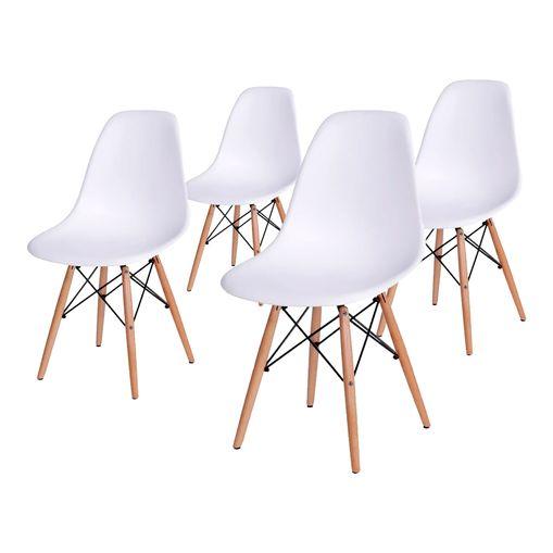 Conjunto de 4 Cadeiras de Jantar Eames Wood Branca ÓR