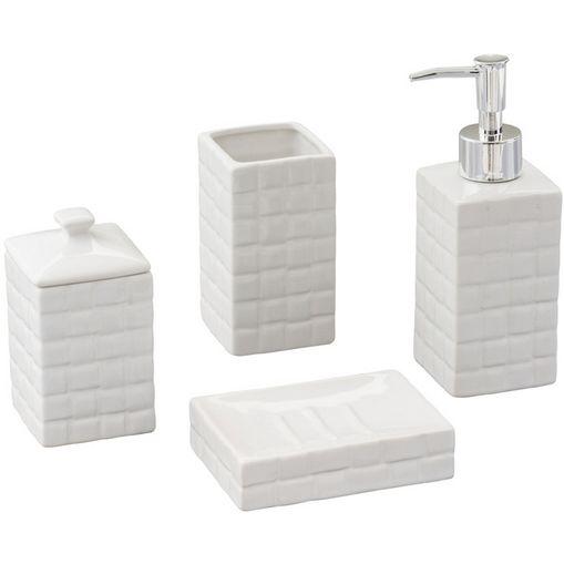 Conjunto de 4 Peças para Banheiro em Cerâmica Space Branca 2131 Lyor