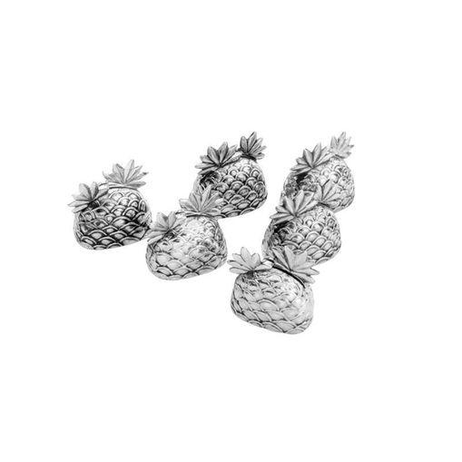 Conjunto de 6 Porta Cartões em Zamac Pineapple 4203 Lyor