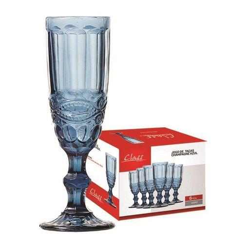 Conjunto de 6 Taças para Champagne 140ml Azul 485 Class
