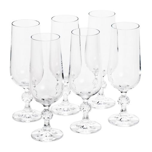 Conjunto de 6 Taças para Champagne em Vidro Klaudie Bohemia