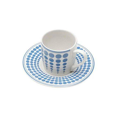 Conjunto de 6 Xícaras de Café com Pires Blue Dots 90ml - Bon Gourmet