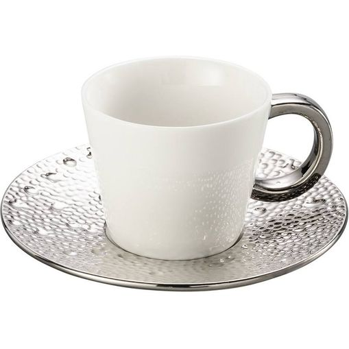 Conjunto de 6 Xícaras para Chá em Porcelana Prata 180ml Drop 8113 Lyor