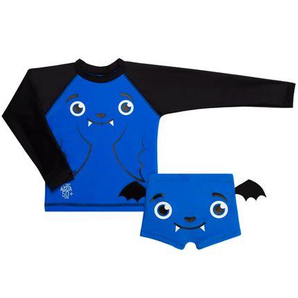 Conjunto de Banho Morcego: Camiseta + Sunga - Cara de Criança