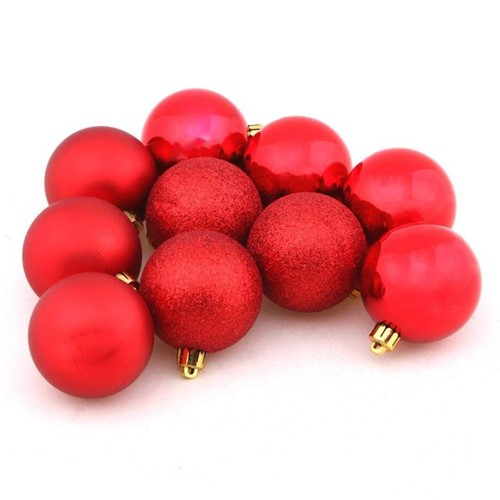 Conjunto de Bolas 6cm com 10 Peças Vermelho Havan Vermelho