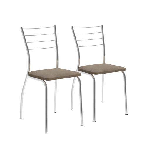 Conjunto de 2 Cadeiras 1700 Napa Camurça Conhaque Cromado Móveis Carraro