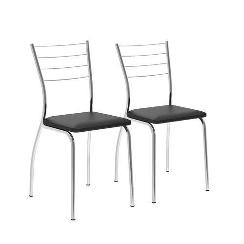 Conjunto de 2 Cadeiras 1700 Napa Preto Cromado Móveis Carraro