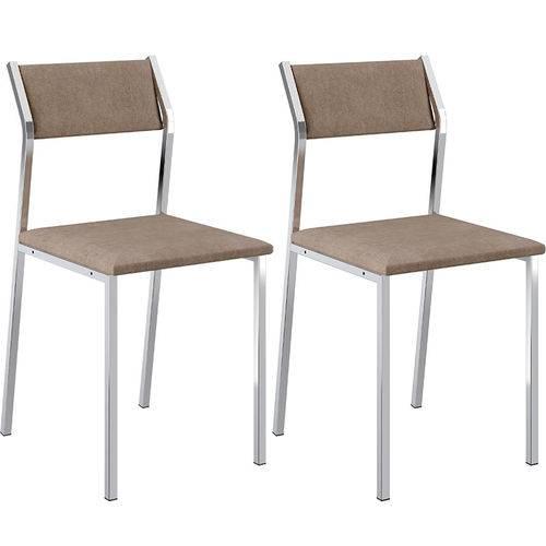 Conjunto de 2 Cadeiras 1709 Camurça – Carraro - Camurça Conhaque