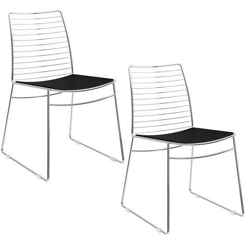 Conjunto de 2 Cadeiras 1712 Cromado – Carraro - Preto