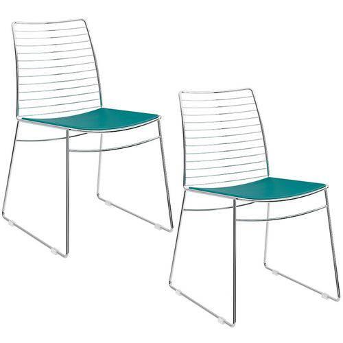 Conjunto de 2 Cadeiras 1712 Cromado – Carraro - Turquesa