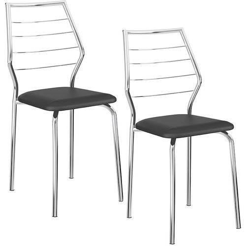 Conjunto de 2 Cadeiras 1716 Cromado – Carraro - Preto