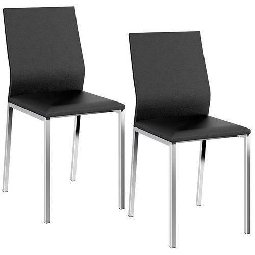 Conjunto de 2 Cadeiras 1804 Cromado – Carraro - Preto