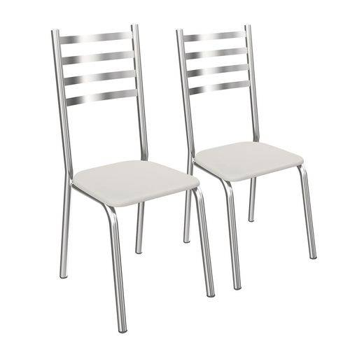 Conjunto de Cadeiras Alemanha 2C086 2 Peças Cromada e Branco Crome