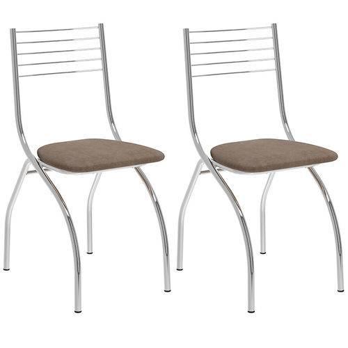 Conjunto de 2 Cadeiras Camurça 146 – Carraro - Camurça Conhaque