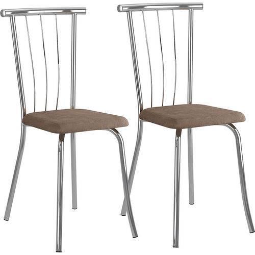 Conjunto de 2 Cadeiras Camurça 154 – Carraro - Camurça Conhaque