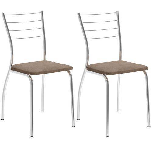 Conjunto de 2 Cadeiras Camurça 1700 – Carraro - Camurça Conhaque