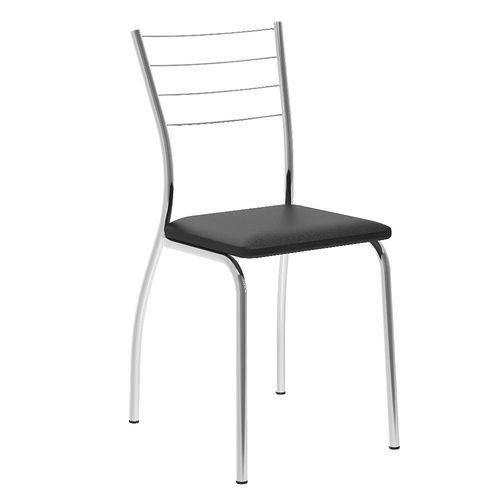 Conjunto de 2 Cadeiras Carraro 1700 Preto Cromado se