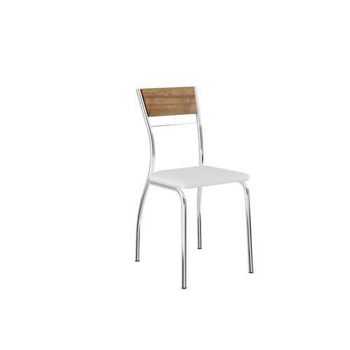 Conjunto de 2 Cadeiras com Encosto em Mdp Napa Branco e Cromado