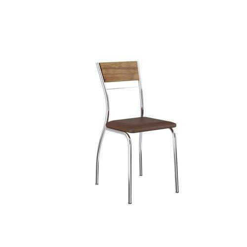 Conjunto de 2 Cadeiras com Encosto em Mdp Napa Cacau e Cromado