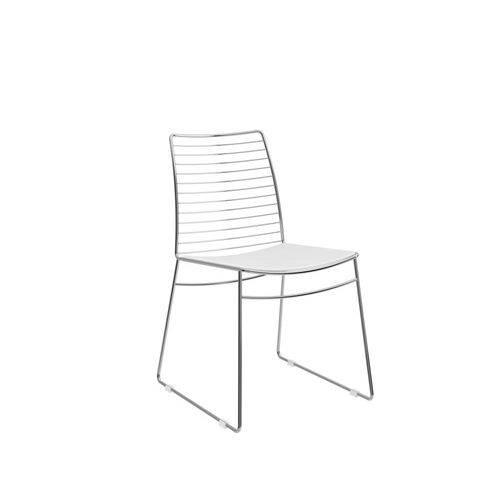 Conjunto de 2 Cadeiras Cromado e Courissimo Branco