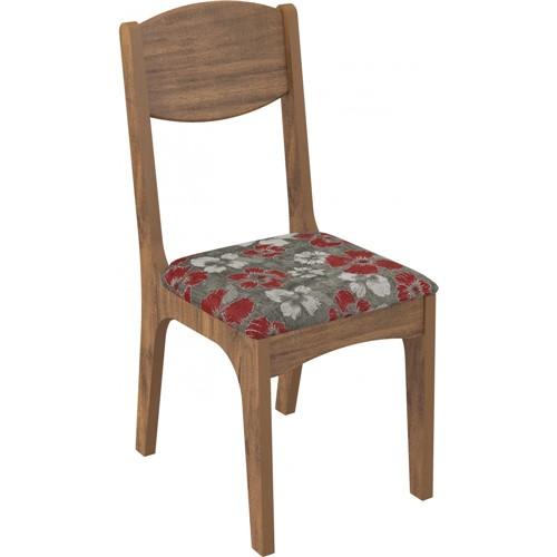 Conjunto de 2 Cadeiras de Assento Estofado Dalla Costa CA12 - N7 - Nobre e Chenille Floral Vermelho