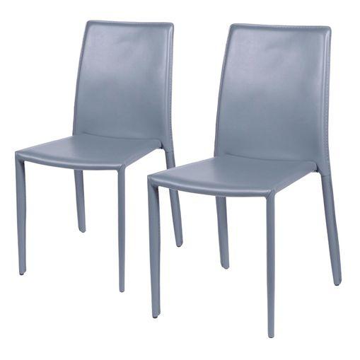 Conjunto de 2 Cadeiras de Jantar Cinza Alba ÓR Design